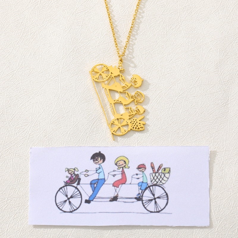 Customized Your Childs Art Necklace Personalized Silver Stainless Steel Necklace Children Drawing Jewelry Gift For Mom/Dad