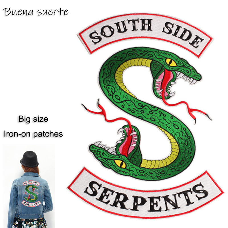 Riverdale South Side Serpents snake Embroidery Iron on Patches for Clothing DIY Stripes Clothes Stickers Appliques Supplies
