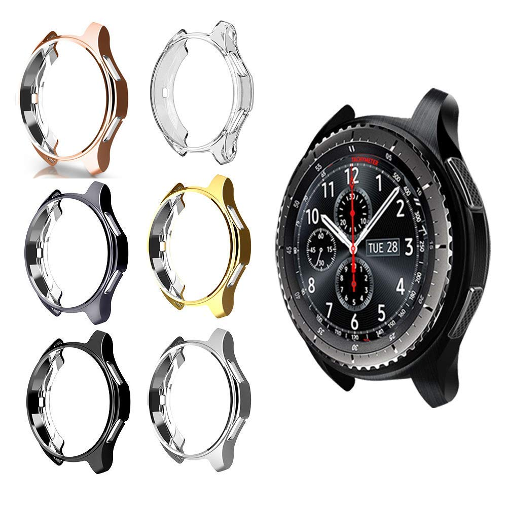 Gear S3 Frontier Case For Samsung Galaxy Watch 46mm 42mm Strap Cover Soft TPU Plated All-Around Protective Shell Frame Accessory