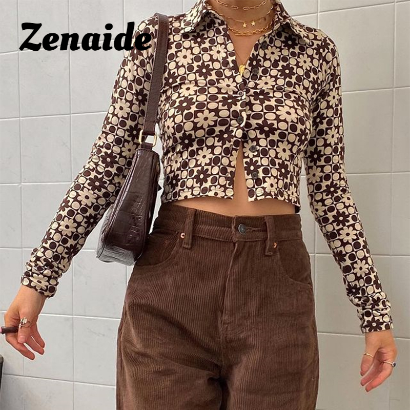 Zenaide Flower Printed Collar Shirt Women Long Sleeve Crop Top Streetwear Button Up Sexy Short Brown T Shirts 2021