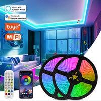 luces led para habitacion Tira de luces LED inteligente Tuya, accesorio con WiFi, 12V, 5050 lúmenes, funciona con Control de voz Alexa, cinta RGB que cambia de Color, 5m, 10m, 15m, 20m tiras de luces led