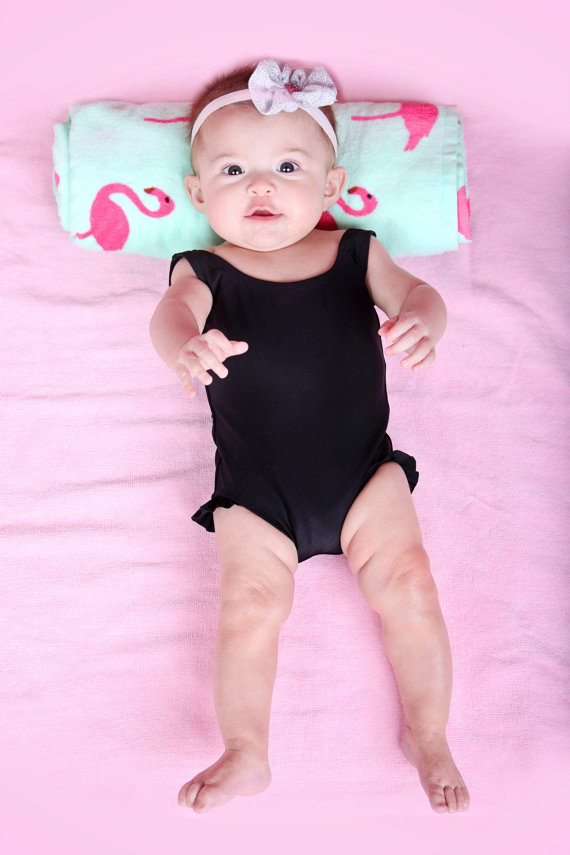 2019 Summer GIRL'S Swimsuit Solid Black Flounced One-piece Swimming Suit Female Baby Swimming Clothing One-piece Swimming Suit