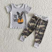 2021 Easter Outfit 2PCS Infant Baby boys Bunnies Tops and Camo Pants Children Clothes Boutique kids Clothing Sets