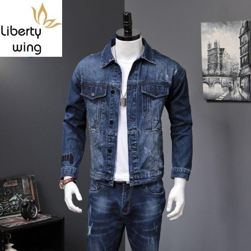 2 Men New Autumn Fashion Korean Slim Fit Denim Jackets And Jeans Casual Two piece Sets Brand Clothes Suits