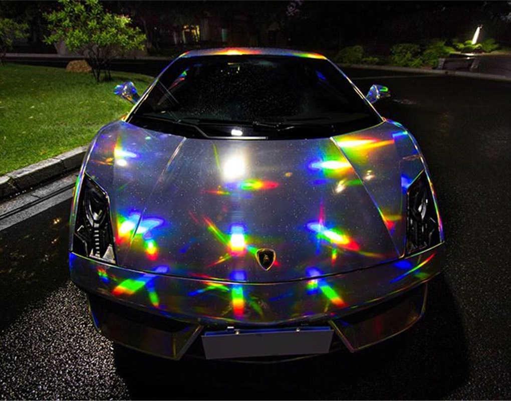 さまざまな色シルバーパープルゴールドブラック玉虫色レーザークロームビニール箔ホログラムフィルム虹ビニールラップロールバブル送料