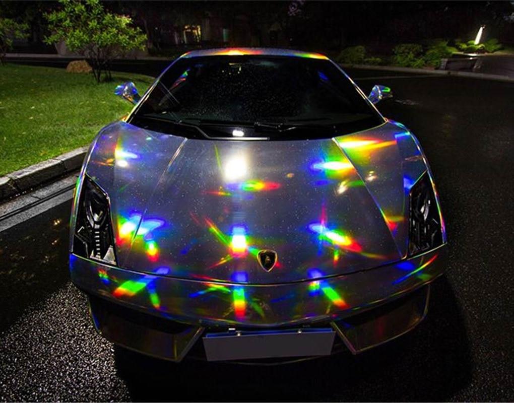 Film d'enveloppe de vinyle de Chrome holographique de diverses couleurs argent/noir et rouge/or pour la feuille d'enveloppe de carrosserie de voiture d'hologramme