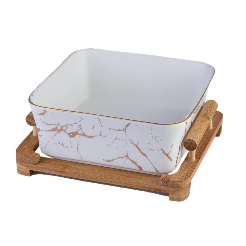 Nord européen marbre modèle céramique carré fruits salade bol décoration de la maison vaisselle fruits assiette/Snack blanc