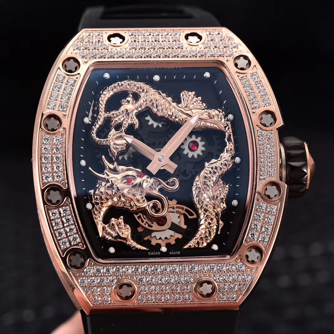 Classic  Black Rubber Men Sapphire Automatic Mechanical Dragon Phoenix Rose Gold Iced Diamond Tourbillion Skeleton Watch