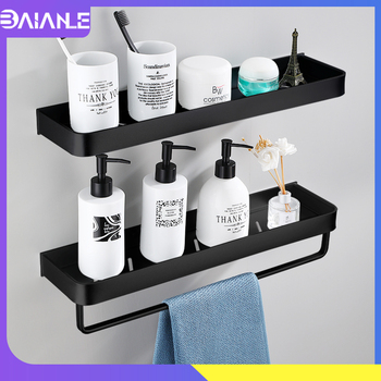 Bathroom Shelf Black with Towel Bar Space Aluminum Bathroom Shelves Shampoo Holder Shower Caddy Rack Corner Kitchen Storage Rack two layer bathroom rack space aluminum towel washing shower basket bar shelf bathroom accessories shampoo holder 7842