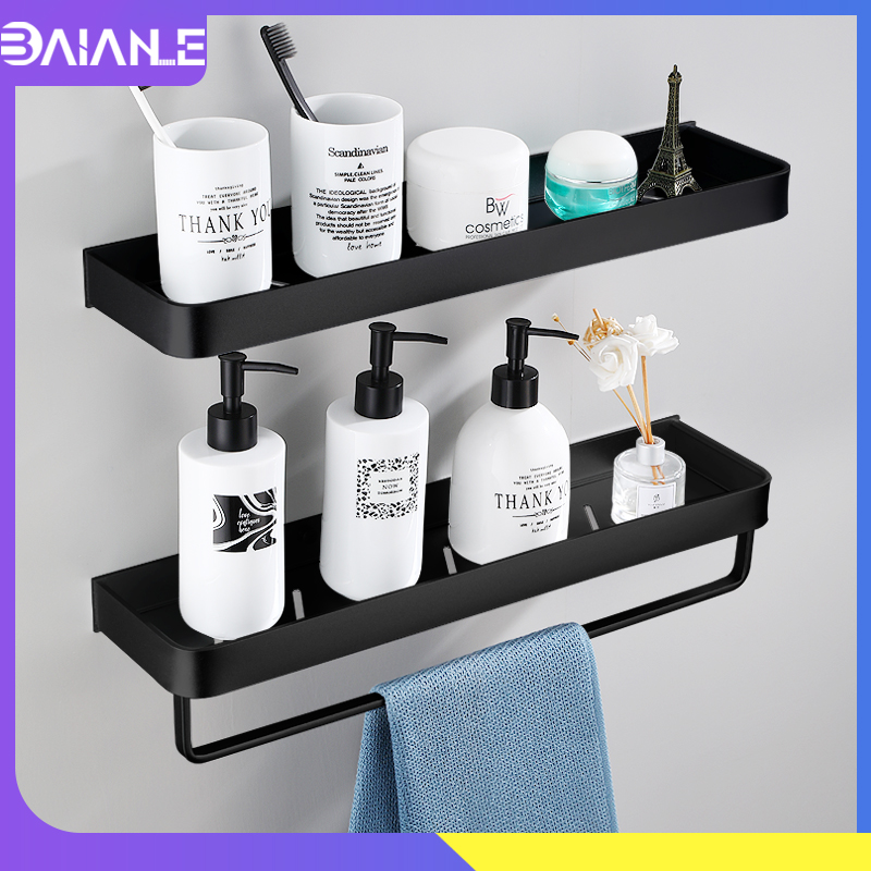 Bathroom Shelf Black with Towel Bar Space Aluminum Bathroom Shelves Shampoo Holder Shower Caddy Rack Corner Kitchen Storage Rack image