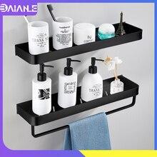 Prateleira para banheiro, prateleira para banheiro, preta com toalha de banho, prateleira de alumínio para banheiro, suporte de shampoo, rack de canto
