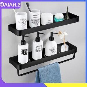 Image 1 - Prateleira para banheiro, prateleira para banheiro, preta com toalha de banho, prateleira de alumínio para banheiro, suporte de shampoo, rack de canto