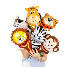 1pcs Mini Animal Head Foil Balloons mini Fox toys birthday party decorations kids hand balls Inflatable Toys Baby Shower Party