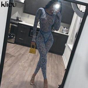 Kliou mode muster Druck Mesh Gespleißt Zwei Stück Set 2020 Frauen Lange Hülse Sehen Durch Bodysuit leggings schlank 2 Stück outfit