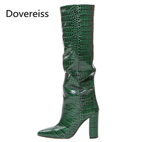 Dovereiss Fashion Female boots Winter new Elegant sexy consice Gray Pointed toe Block heelsPure color Knee high boots 33 48