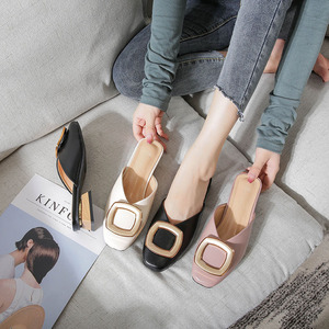 Image 4 - Closed Toe Mules Women Genuine Leather Low Heels Slippers Casual Metal Buckle Slip on Slides Shallow Loafers Big Size Shoes