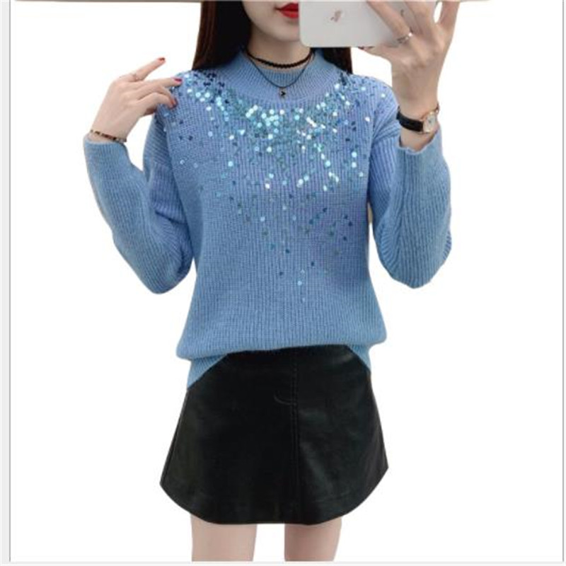 Fashion Sequins Women Sweater Pullovers Autumn 2019 Short Knitted Tops Jumper Female O-Neck Slim Pull Femme Hiver Warm M212