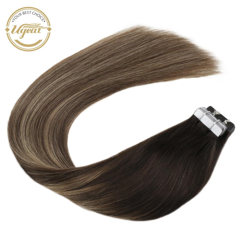Ugeat Tape In Real Hair Extensions Balayage Ombre Real Human Hair 12-24inch Machine Remy Seamless Invisible Glue In Extensions
