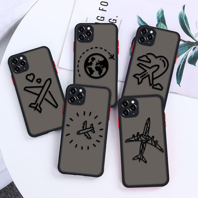 Черный чехол с самолетом для Iphone 11 12 Pro Max, чехлы, прозрачные чехлы для Iphone 7 8 XR SE 2020 6 6S Plus Xs Mini IPhone12, чехлы