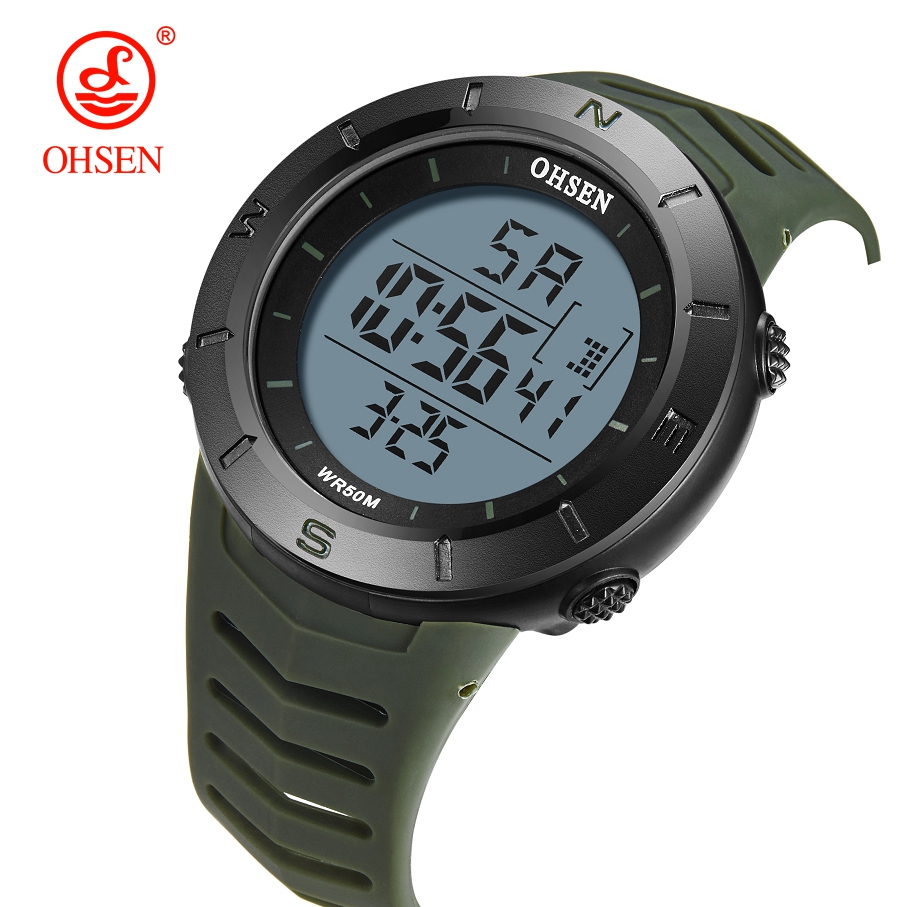 Digital LCD Men Watch Reloj Hombre Military Green Waterproof Outdoor Running Wristwatch Silicone Bracelet Clocks Male Boy Gifts