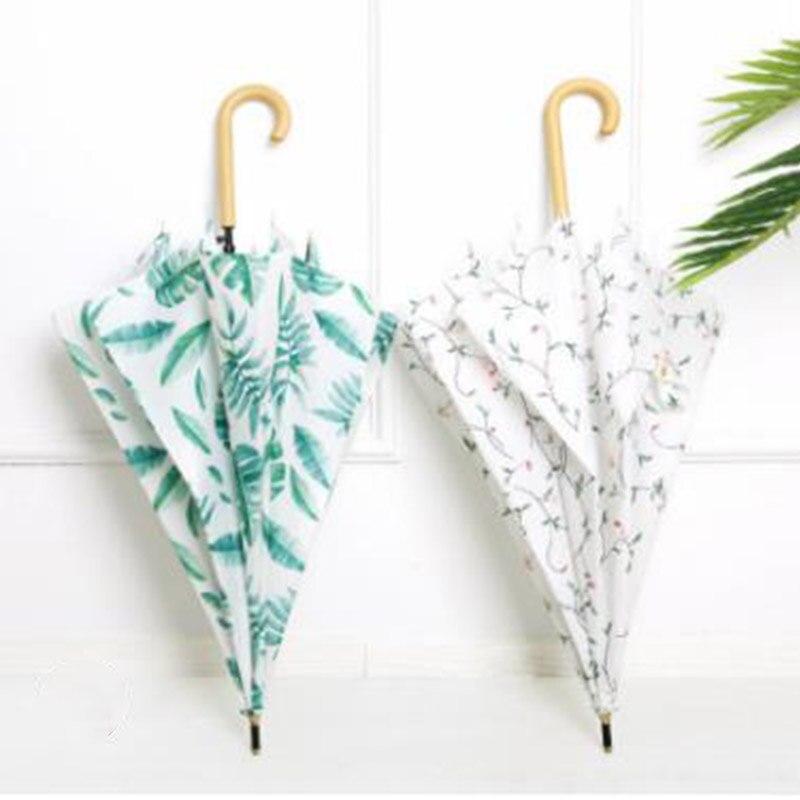 Japonais petit frais droit parapluie long poignée parapluie simple créatif manche en bois parapluie rétro hommes et femmes parapluie