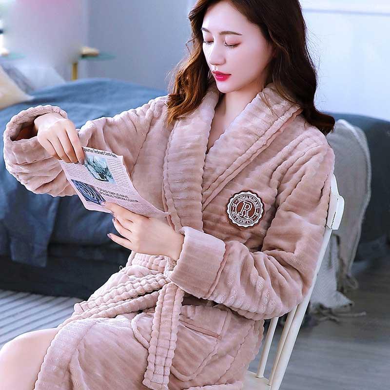 Ultimate SaleNightwear Sleepwear Dressing-Gown Bath-Robe Warm Kimono Flower Home-Clothes Flannel Winter
