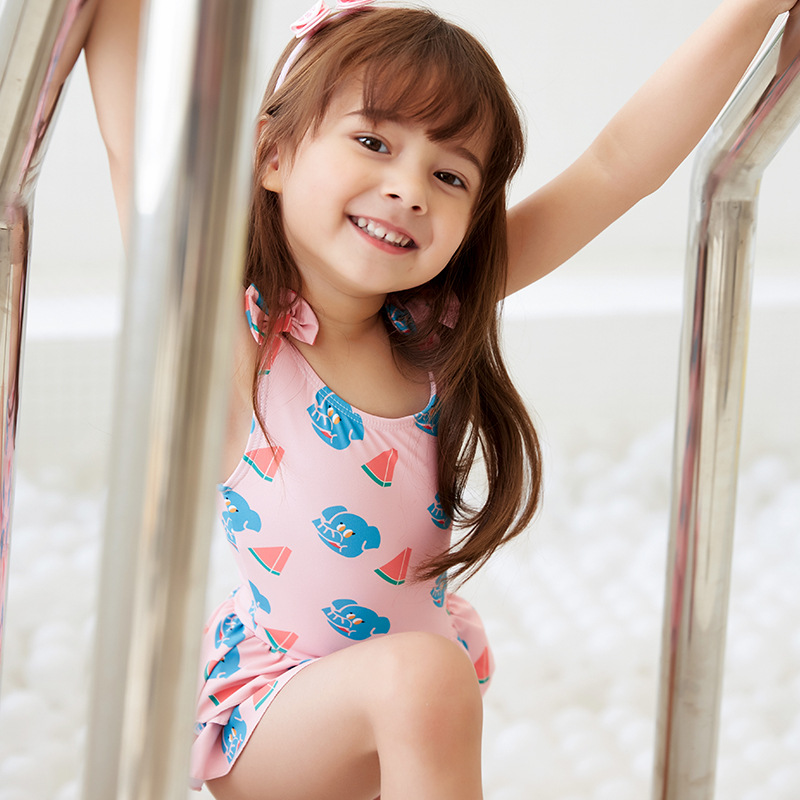 New Style GIRL'S Swimsuit Cute Hipster CHILDREN'S Swimwear Camisole Floral-Print Split Type Big Boy Quick-Dry Swimwear
