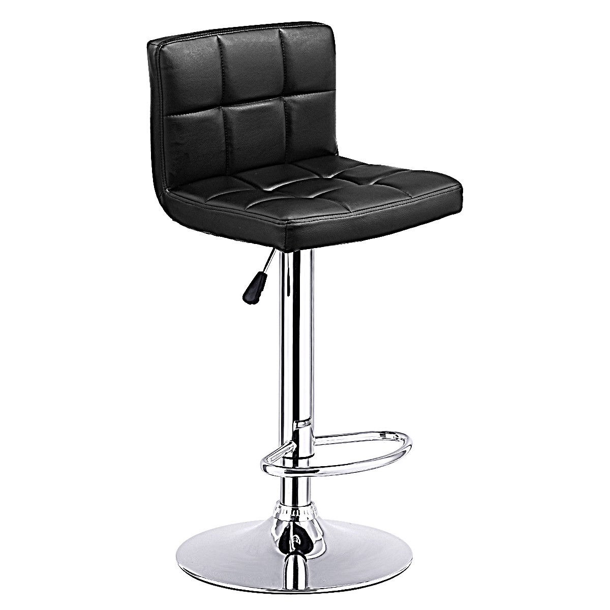 Costway 1 PC Bar Stool Swivel Adjustable PU Leather Barstools Bistro Pub Chair Black