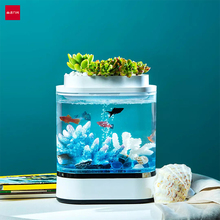 Youpin 기하학 미니 게으른 물고기 탱크 USB 충전 자체 청소 수족관 7 색 LED 빛 작은 물 정원 물고기 탱크