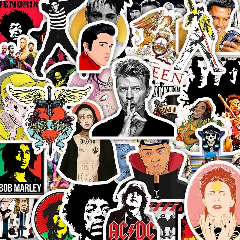 50pcs Classic Rock Band Music POP Singer Graffiti Sticker PVC Waterproof Cartoon Stickers For Guitar Laptop Fridge Wall Decals