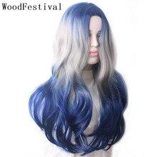 WoodFestival סינטטי פאה חום עמיד נקבה צבעוני פאות לנשים Ombre כחול אפור סגול ירוק ורוד שחור גלי ארוך שיער