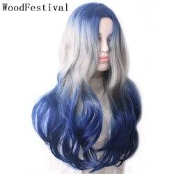 WoodFestival-perruque synthétique, perruque ondulée longue, résistante à la chaleur, colorée, bleu, gris, violet, vert, rose, noir pour femmes