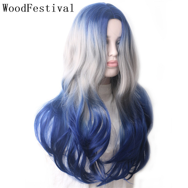 WoodFestival Synthetic Wig Heat Resistant Female Colored Wigs for Women Ombre Blue Grey Purple Green Pink Black Wavy Long Hair