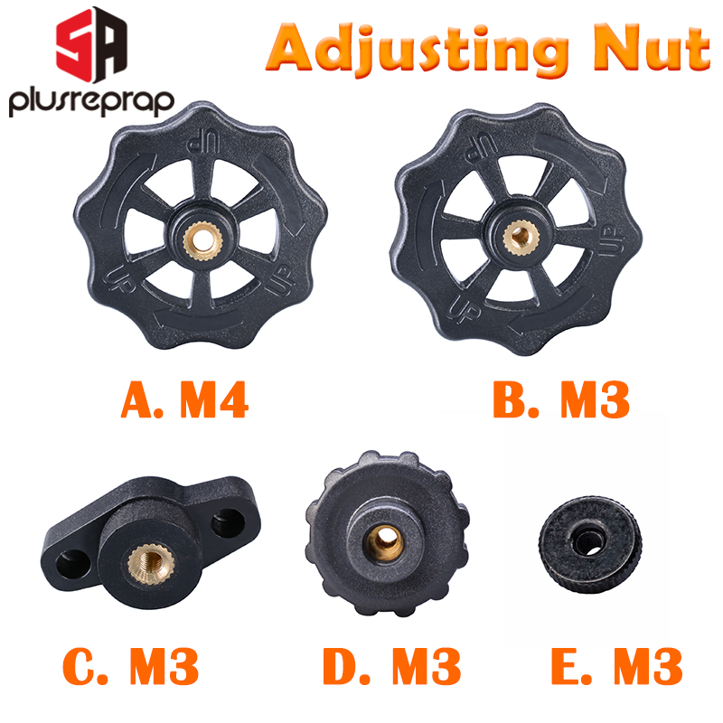 4Pcs UM2 Kit M3 Screw 3D Heated Bed Leveling Hand Adjustment Fixing Nut Part
