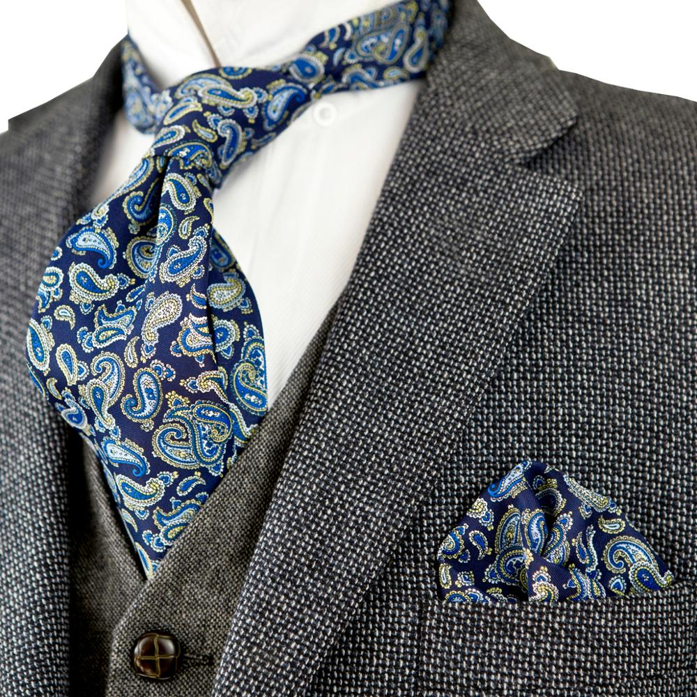 Multicolor Navy Blue Yellow Azure Paisley Mens Neckties Handkerchief Ties Set 100% Silk Printed Sets Free Shipping Brand New
