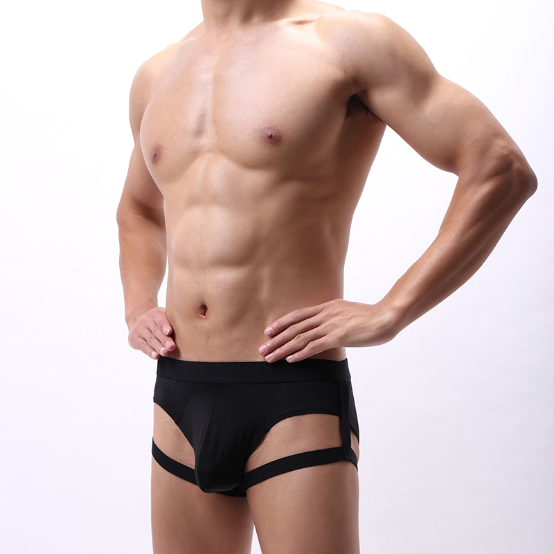 Sexy Men Ice Silk Briefs Underwear Bulge Penis Pouch Panties Leg Ring Straps With Harness Belt Male Underpants Lingerie Hombre
