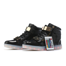 Remote Control Lights Up Led Luminous Men Shoes High Top Glowing Male Casual Shoes With Led Simulation Sole Charge For Adults