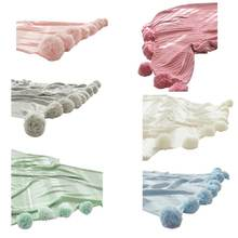 Вязаное однотонное одеяло с помпоном и кисточками теплая накидка