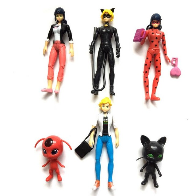 6PCS <font><b>Ladybug</b></font> <font><b>and</b></font> <font><b>Cat</b></font> <font><b>Noir</b></font> Juguetes Toy <font><b>Doll</b></font> Lady Bug Adrien Marinette Plagg Tikki Plastic PVC Figures gift for girl image