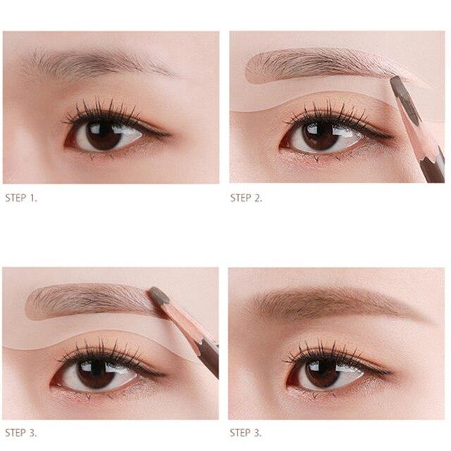 4pcs Eyebrow Kit Reusable Eye Shadow Frames Card for Women Makeup Tools Eyebrows Template Card DIY Eyebrow Tool 2