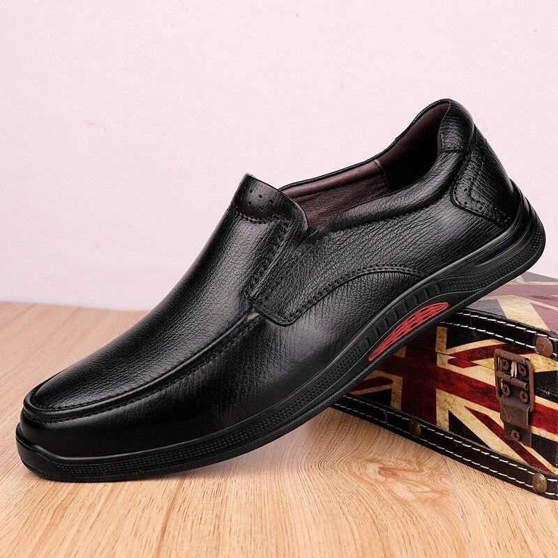 Hommes chaussures hommes en cuir véritable mocassins décontracté sans lacet résistant à l'usure fond souple robe en plein air affaires chaussures homme mocassins o4