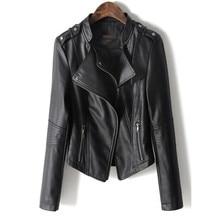 Jacket Women Motorcycle Faux-Leather Coat Black Europe-Style Short Fashion Soft PU Female