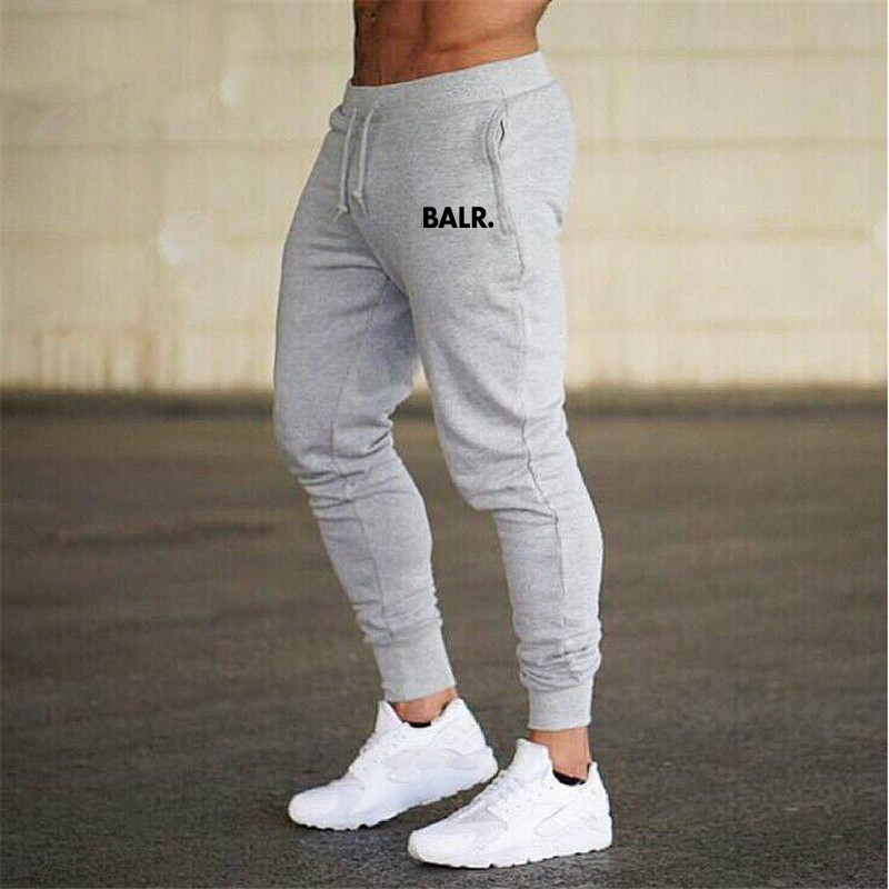 Autumn New Mens Cotton BALR Sweatpants Gyms Fitness Workout Solid Trousers Male Casual Fashion Pencil Pants Joggers Sportswear
