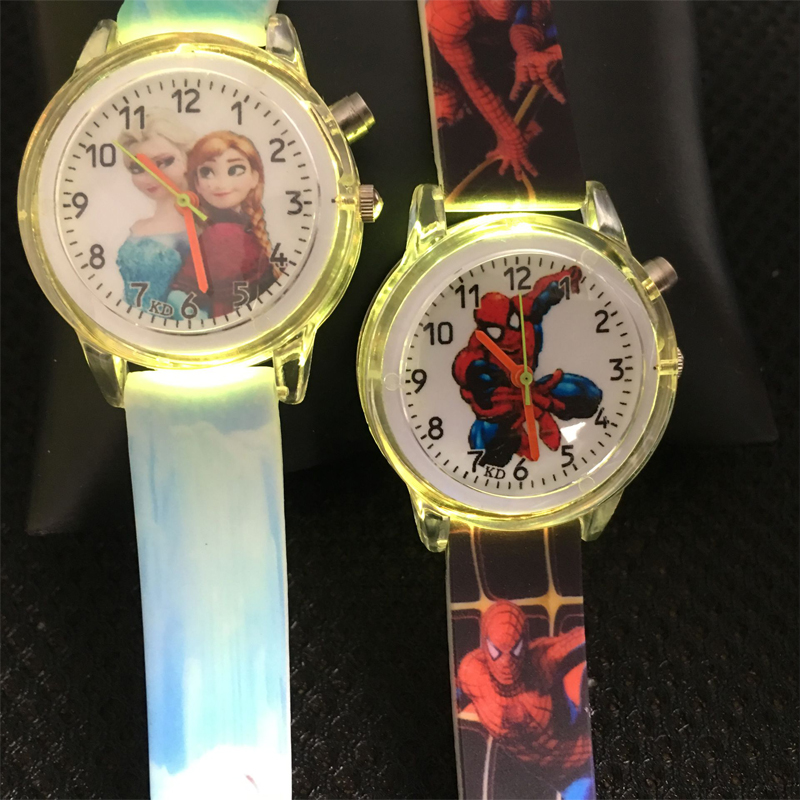 Colorful Flash Light Kids Watches Princess Elsa Children Watches Girls Gift Cartoon Spiderman Boys Quartz Watch Students Clock