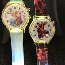 Colorful Flash Light Kids Watches Princess Elsa Children