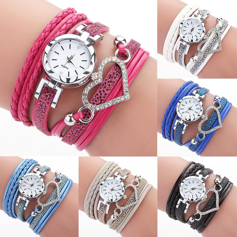 Boho Watches For Women Multi Layer Quartz Watch Bracelet Wristwatch Rhinestone Heart Round Dial Analog Quartz Wrist Watches