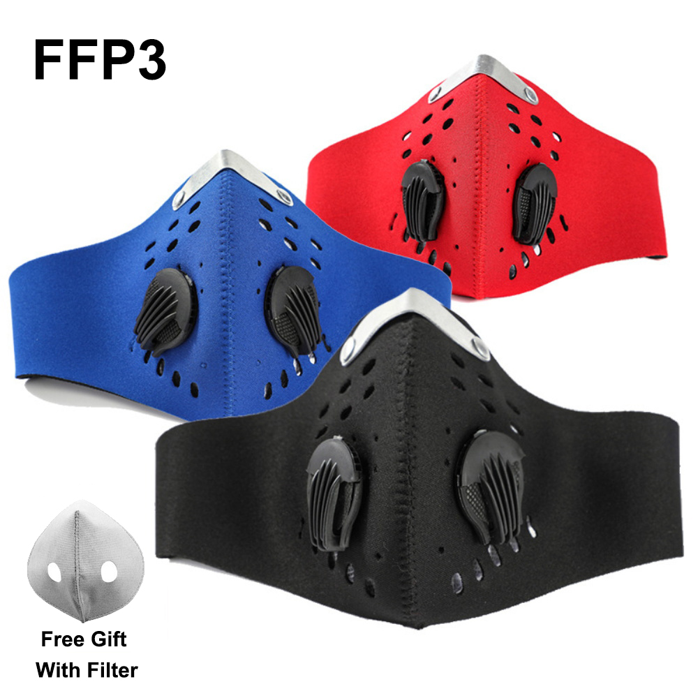 Masque Face Mask Activated Carbon Filter Dust Mask PM 2.5 Anti-Pollution Running Training MTB Road Bike Fpp3 Mask Fpp3mask