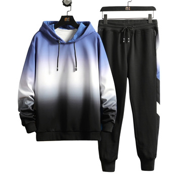 Suit 2019 Contrast Color Gradient 12 Big Tong 15 Years Old Middle Big 13 Loose Fat Boy 14 Autumn Sports Two-piece Set
