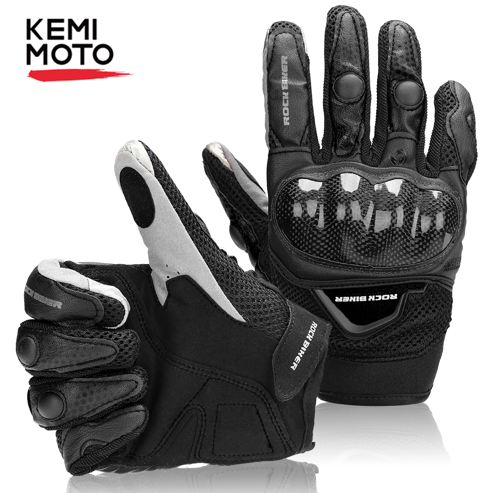 KEMiMOTO Touch Screen Motorcycle Gloves Leather Carbon Fiber Breathable Racing Gloves Luvas Motocross Protective Gear Summer
