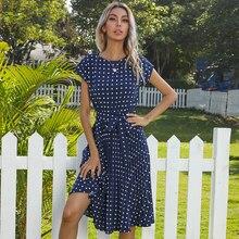 2021 letnie kropki Polk krótkie rękawy platerowane sukienki dla kobiet Midi Vintage eleganckie biuro zielona kolacja ubrania imprezowe Dropshipping